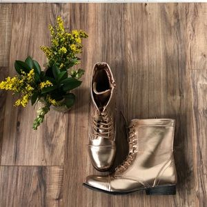 NWT Rose Gold midi zip up boot